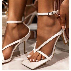 !!NEW!! Square Toe Ankle Wrap Kitten Heels – White